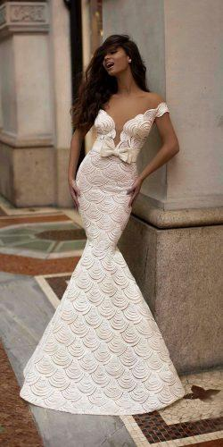tarik ediz wedding dresses mermaid deep v neckline off the shoulder with bow