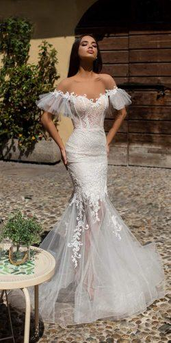 tarik ediz wedding dresses mermaid off the shoulder illusion neckline puff sleeves