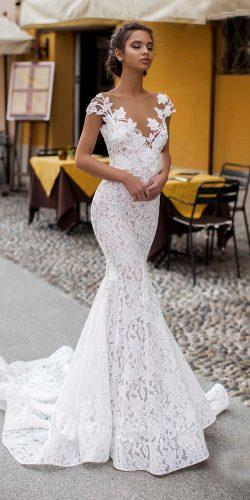 tarik ediz wedding dresses mermaid with cap sleeves illusion neckline floral lace