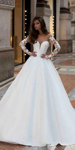 tarik ediz wedding dresses princess with illusion long sleeves sweetheart neckline