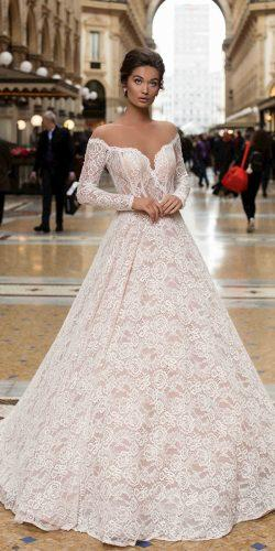 tarik ediz wedding dresses princess with long sleeves lace illusion neckline 2019