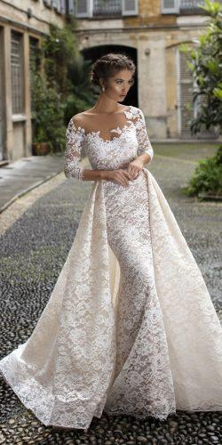 tarik ediz wedding dresses sheath illusion neckline with sleeves overskirt