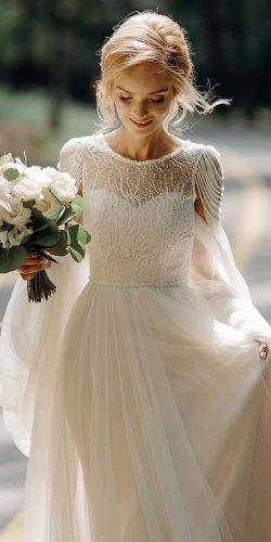 vintage inspired wedding dresses a line with cape romantic ligiamocan