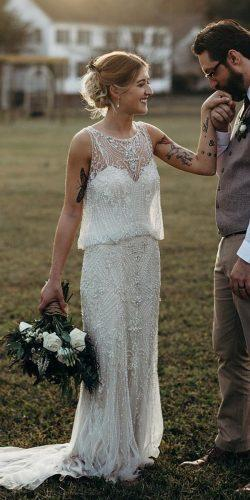 vintage inspired wedding dresses sheath jeweled sleveless michellelyerly