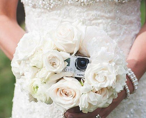 wedding tech trend gopro camera in wedding bouquet