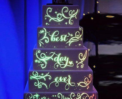wedding tech trend light projections disney on a wedding cake