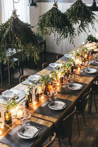 whimsical wedding table decor with candle and greenery Giuli Giordi