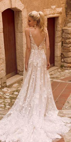 a line wedding dresses v back with train lace madilanebridal