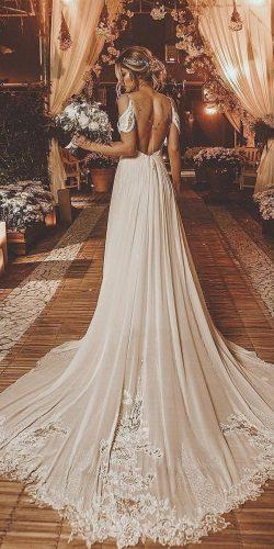 a line wedding dresses with spaghetti straps low back with train rodrigovipych