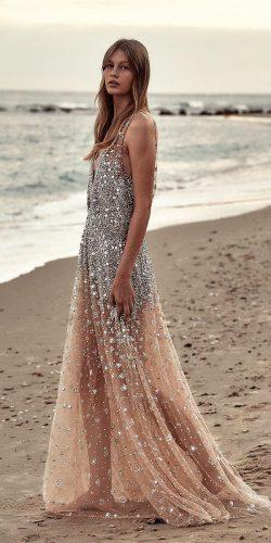 beach wedding dresses a line sequins silver 2019 danahareldesign