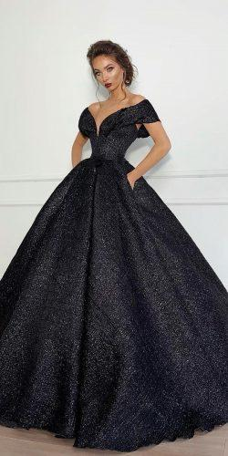 black wedding dresses ball gown off the shoulder sequins fjollanilaofficial