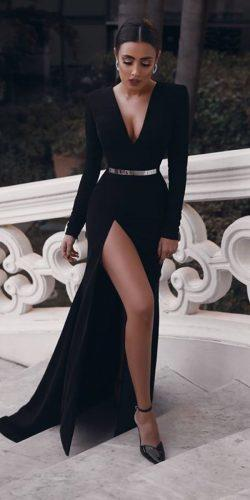 black wedding dresses sheath with long sleevess deep v neckline with slit said mhamad