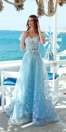 blue wedding dresses a line with cape sleeves lace said mhamad