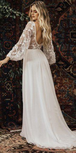 89781f4bd2 boho wedding dresses a line open back with long sleeves dreamersandlovers
