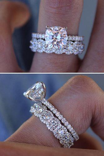 bridal sets cushion cut pave band solitaire wedding set