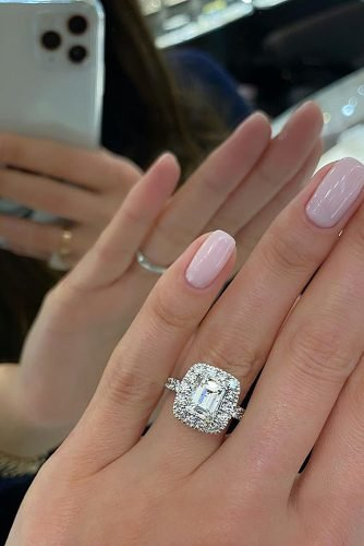 engagement ring inspiration halo diamond gold