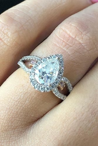 engagement ring inspiration halo diamond pear cut