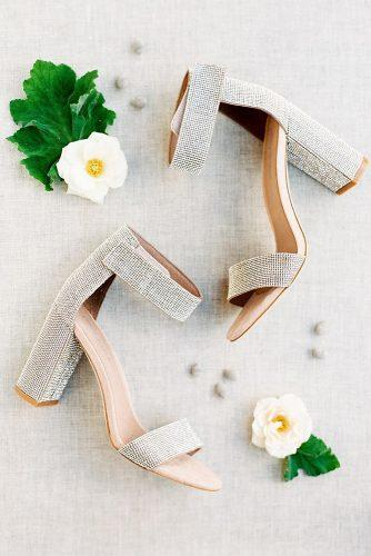 gorgeous bridal shoes sparkle low heels