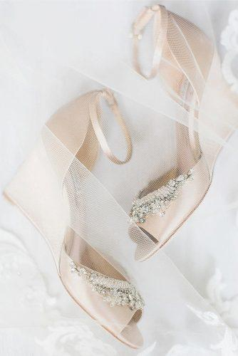 gorgeous bridal shoes wedge champagne with stones tifanilyn