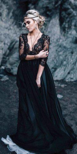 gothic wedding dresses a line with three quote sleeves lace top cathytelle
