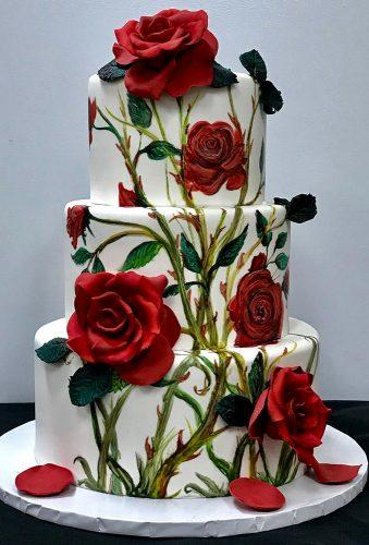 handpainted wedding cakes roses on the cake bakersmaninc