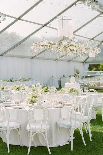 modern wedding decor ideas all white romantic reception under transparent tent theweddingartistsco