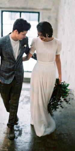 modest wedding dresses a line with cap sleeves simple cathytelle