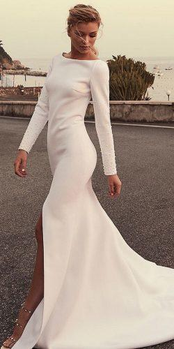 modest wedding dresses sheath with long sleeves slit pearls chosenbyoneday