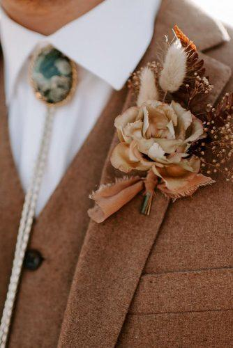 rust wedding color bohemian bridal boutonniere with rose and smal dry grass peytonrbyford