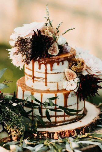 rust wedding color bohemian rustic naked drip cake with flowers and fruits emily.magers