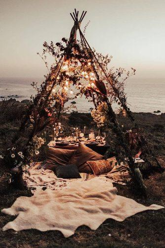 rust wedding color reception wooden brunch teepee bohemian with light bulb tessatadlock