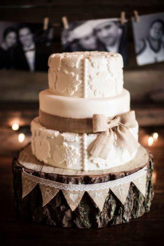rust wedding color rustic cake with texture and burlap ribbon bow bonavita photography
