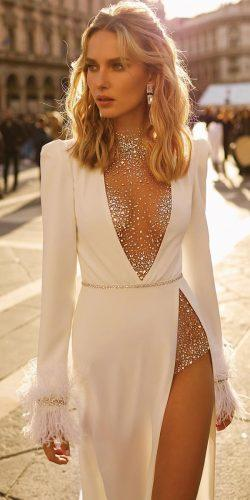 sexy wedding dresses ideas with long sleeves illusion sequins neckline berta