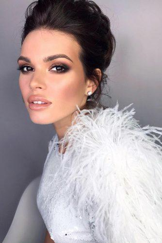 simple wedding makep elegant evening smokey eyes and nude lips grishina.viktoria