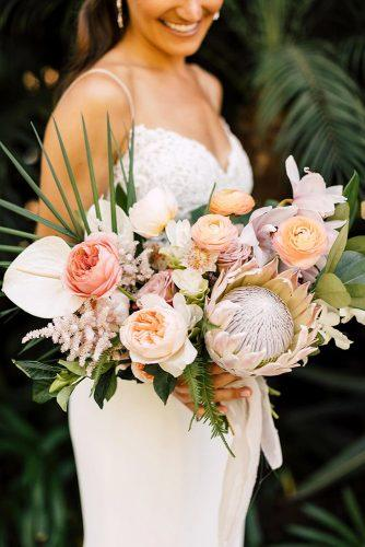 tropical wedding bouquets bouquet with protea Plum Oak Photo