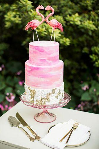 tropical wedding cake trends pink flamingo cake Dola Photography