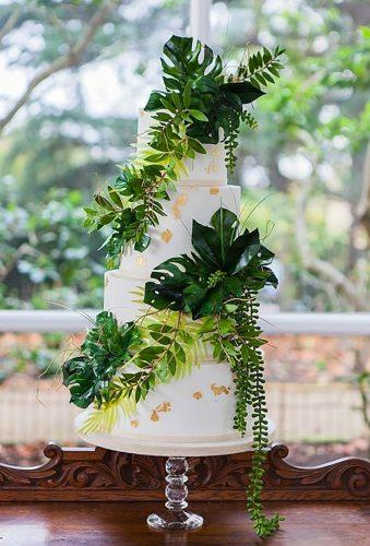 tropical wedding cake trends tropical leaf in decor Amanda Karen Photography