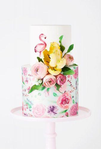 tropical wedding cake trends watercolor flamingo cake cake ink