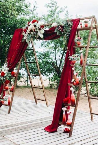 velvet wedding decor arch with stairs colincowielifestyle