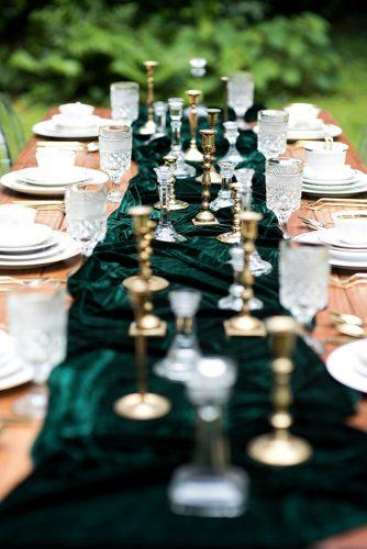 velvet wedding decor green table decor Kathryn Whitworth