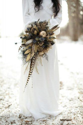 wedding dried flowers bouquets boho bouquet for bride Larmand Photography