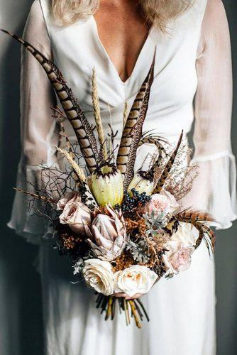 wedding dried flowers bouquets boho wedding bouquet crimsonweddingflowers