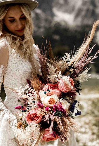 wedding dried flowers bouquets boho wedding bouquet lillyred