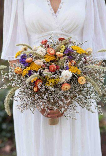 wedding dried flowers bouquets colorful bouquet featherandoak