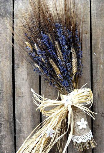 wedding dried flowers bouquets lavender with burlap RusticHouse11