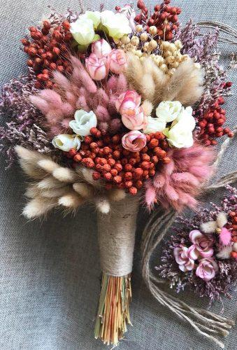 wedding dried flowers bouquets pink bouquet in classic style FullFlowers