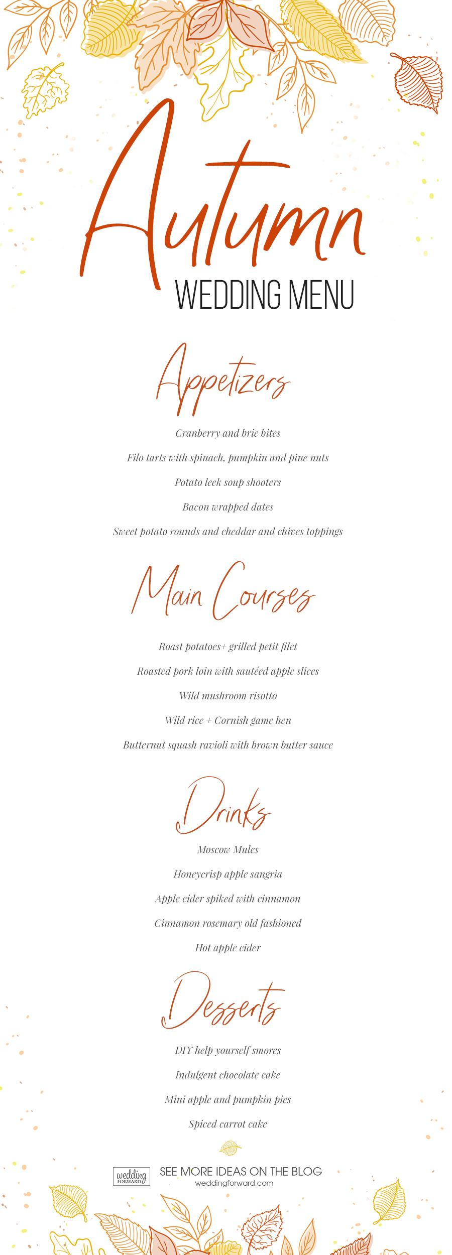 Fall wedding menu - wedding menu ideas for autumn