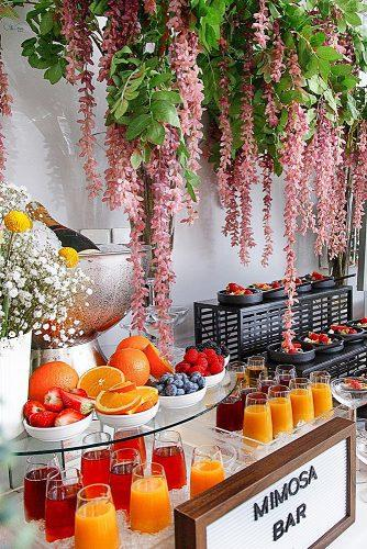 wedding menu ideas mimosa bar beautiful decor