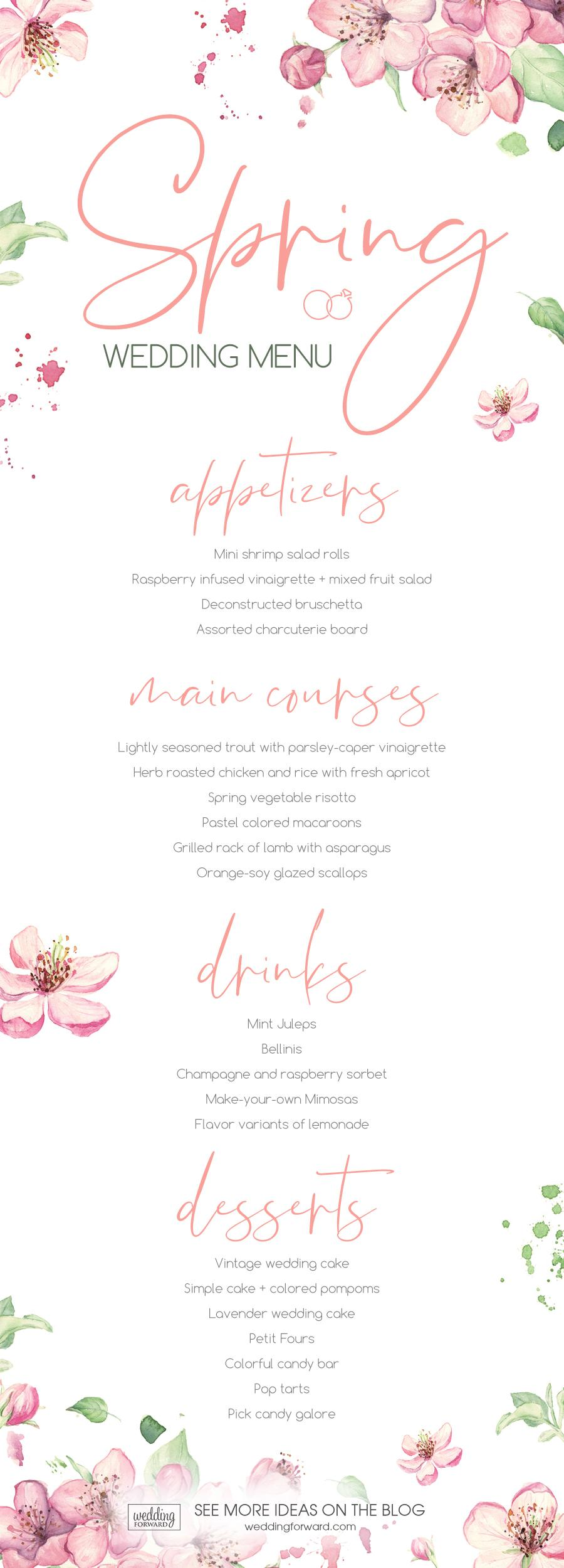 Spring wedding menu - wedding menu ideas