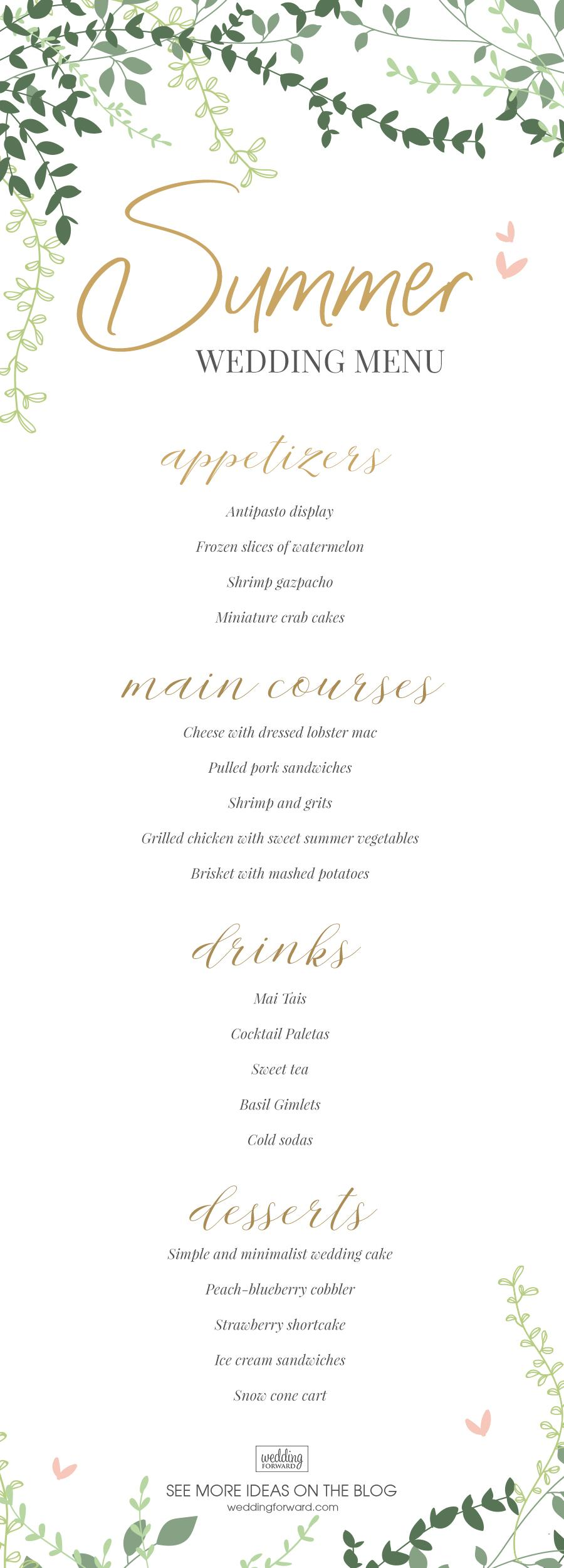summer wedding menu - wedding menu ideas